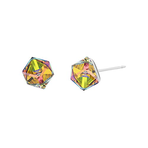 LESA MICHELE Yellow Prism Color Change Cube Earrings for Women in Stainless Steel made with Swarovski Crystals (Crystal Vitrail Medium) ()