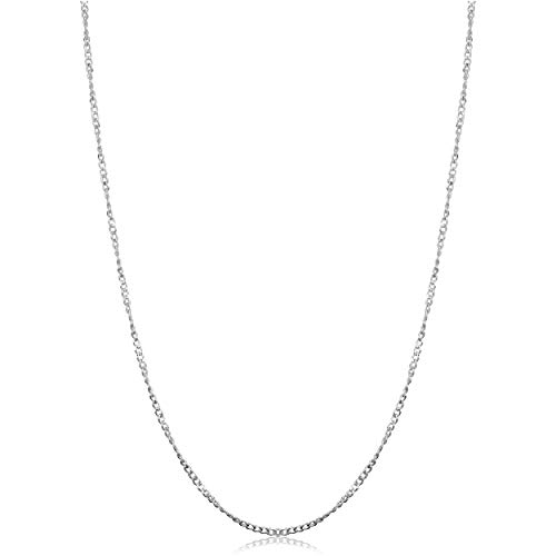 Kooljewelry Sterling Silver Twisted Curb Chain Necklace (1.2 mm, 18 inch) ()