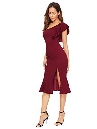 b4e852094a0 Floerns Women s Ruffle One Shoulder Split Midi Party Bodycon Dress ...