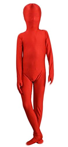 Seeksmile Kids Costume Full Body Lycra Zentai Suit (Small, Red) -