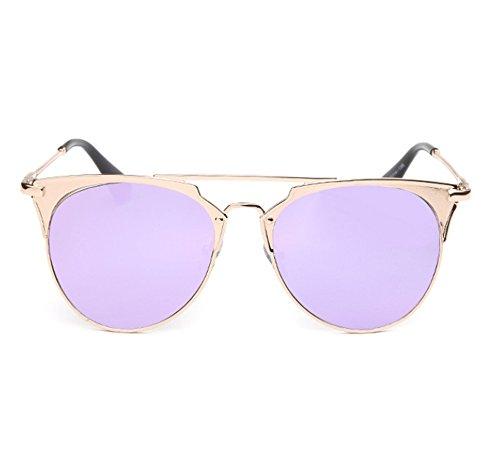 protección del Morado no moda de la moda de retra marco sol UV de redondo la de redondas polarizada Gafas Gafas 8wHq1q