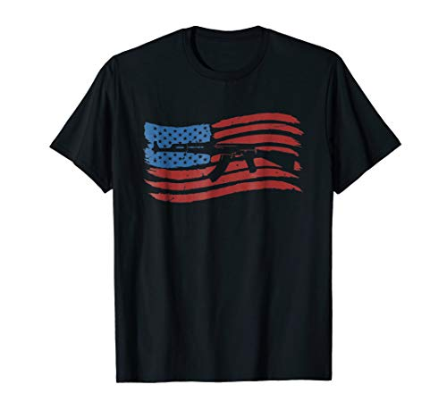 American Flag With AK-47 Graphic Guns T Shirt (Best American Ak 47)