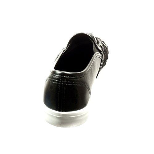 Angkorly - Zapatillas de Moda Deportivos slip-on mujer brillante brillantes Talón tacón plano 2.5 CM - Negro