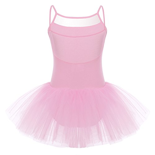 Freebily Little Girls Suspenders Tulle Ballet Dancer Leotard Gymnastics Tutu Dress Pink 2-3 (Onesie Ballerina Dress)