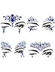 4 Sets Mermaid Face Gems Rhinestone Tattoo Festival Jewels Eyes Face Body Temporary Tattoos Glitter Temporary Tattoo Bindi Crystals Rainbow Tears Stickers ()