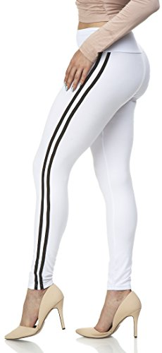 Lush Moda Women's Basic Leggings with Yoga Waist- Extra Soft and Variety of Colors - White w Black ()