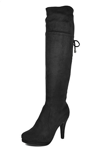 Dream Pairs Women's PHANCY Fashion Slouchy Rear Cross Lace Up Winter Faux Fur High Heel Knee High Lady Boots BLACK-SZ-8.5