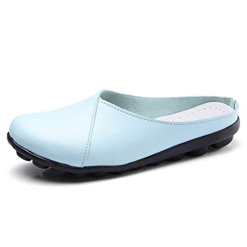 Chaussures On Femmes Bout Pantoufles Rond Lune Slip En Couture Pour De Solid Plateforme Cuir Vache Mocassins qttBWRwaf