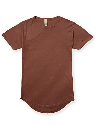 JD Apparel Men's Hipster Longline Drop Cut T-Shirts 3XL Cacao Shell -
