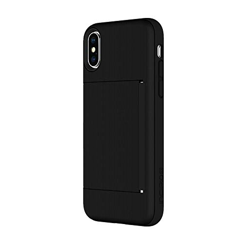 Incipio IPH-1649-BLK Apple iPhone X Stowaway Credit Card Hard Shell Case with Silicone Core - Black