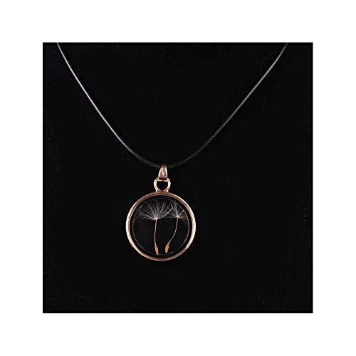J Meng Dandelion Wish Necklace Vintage Retro Circle Glass Magnifier Pendant Necklace for Women Girl (A)