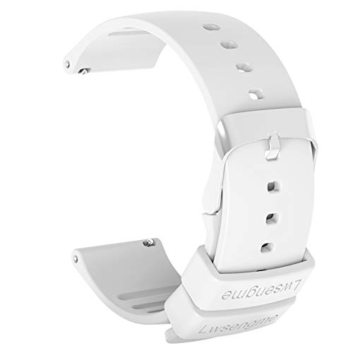 Lwsengme Silicone Watch Replacement Band with Quick Release-Choose Color & Width (20mm,22mm) & Length-Soft Rubber Watch Strap (White, 22mm) (White Stripes Band)
