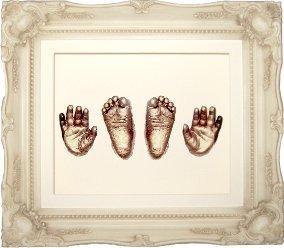 Großes Baby Abdruckset (Rokoko-Zierrahmen creme - ca. 29 x 24 cm - Farbe Metallic-Bronze) (UK Import)