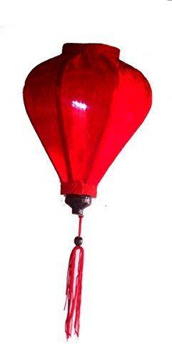 Vietnamese Silk & Bamboo Lampshade/Lantern (9 inch/23cm) (Red)