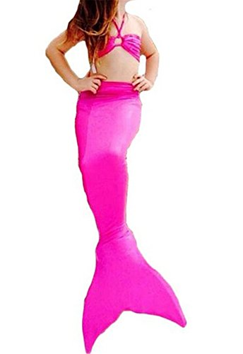 Newland Girl's Kids Princess Mermaid Tail Sea-maid Bikini Swimwear Bathing Suit Rose 140