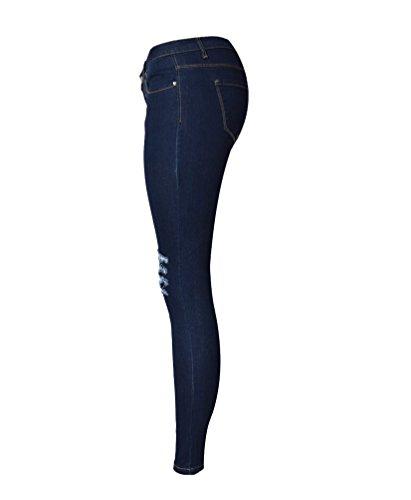 YiLianDa Mujer Pantalones Vaqueros Delgados Corte alto Pantalón Pitillo Cintura Alta Aspecto Azul