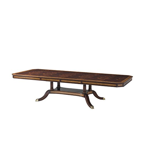 Regency Mahogany Extension Dining Table, Pedestal Base with Cross Banded Edge, Regency Antique English Reproduction Dining Table ()