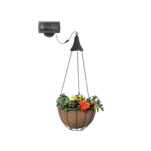 Gama Sonic Solar Spotlight - Gama Sonic Solar Outdoor Hanging LED Spotlight with Attachable Hanging Planter Basket #GS-6