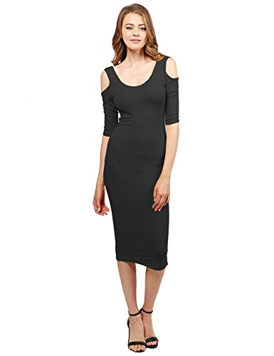 Awesome21 Solid Soft Stretch Ribbed Cut Out Shoulder Bodycon Midi Dress Black Size L (Out Cut Asos)