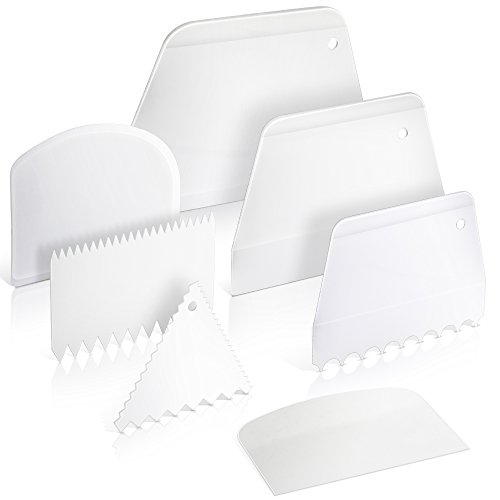 Teenitor Cake Scraper Cake Smoother, 7 Pcs Cake Icing Scraper Cake Smoother Scraper Cutters Smoother Tool - Bengals 4 Square Piece