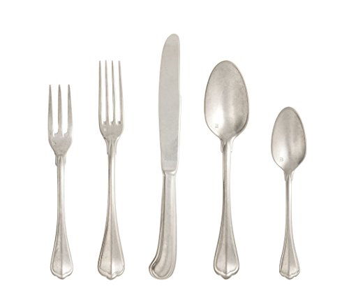 (Fortessa San Marco 18/10 Flatware 20 Piece Place Setting, Service for 4, Antique Silver)