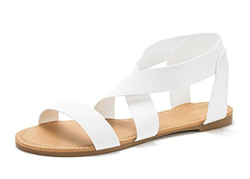aae718ce89f DREAM PAIRS Women s Elatica-6 White Elastic Ankle Strap Flat Sandals Size  10 ...
