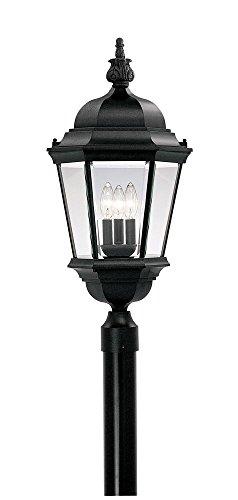 "Builder Cast Aluminum 13"" Post Lantern by Designers Fountain 2956-BK in Black Finish"