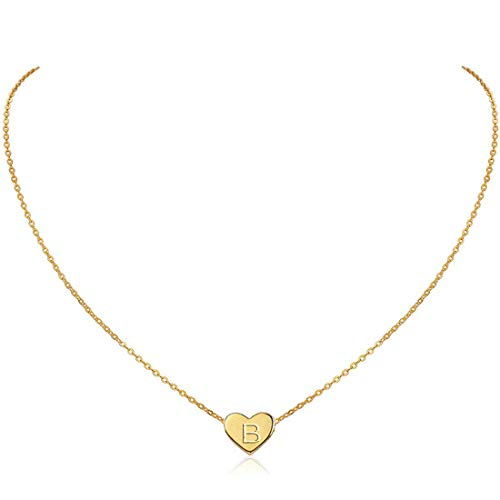MOMOL Initial Heart Necklace, 18K Gold Plated Stainless Steel Small Dainty Heart Pendant Necklace Personalized Name Necklace Tiny Letter B Charm Necklace for Girls (B)