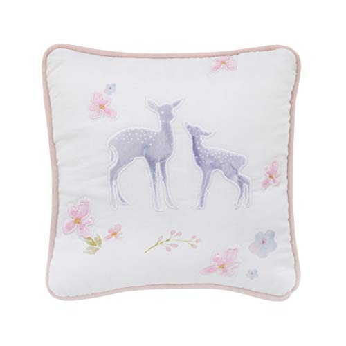 NoJo Watercolor Deer Nursery Decorative Pillow with Applique, Pink/Grey/White/Blue/White