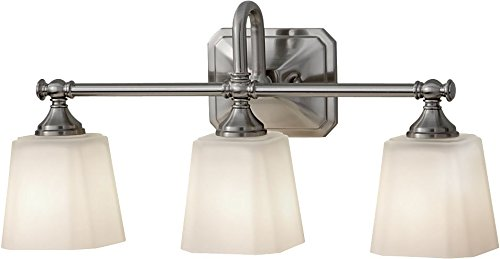 Feiss VS19703-BS Concord Glass Wall Vanity Bath Lighting, Satin Nickel, 3-Light (21