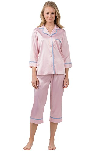 PajamaGram Women's Dreamy Satin Capri-Length Pajama Set, Pink, XLG (16)