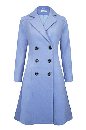 APTRO Women's Double Breasted Hemlines Wool Coat Long Winter Coats WS02 Blue S