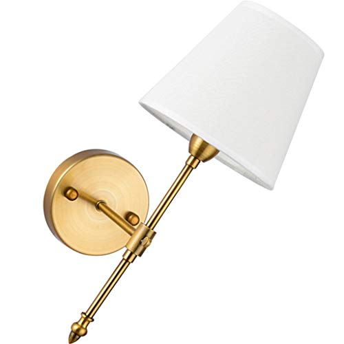 (T&Y YT- Classic Rustic Industrial Wall Sconce Lighting Fixture with White Textile Lamp Shade and Antique Brass Tapered Column Stand )