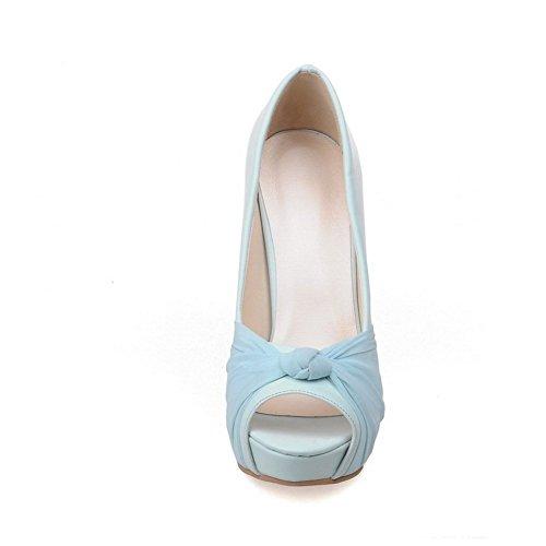 Adee Mujer Lazos high-heels material suave sandalias Azul - azul (Skyblue)