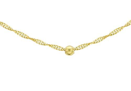 """Jewellery World Bague en or jaune 9carats Diamant coupe Boule et de chaîne 46cm/18"""""""""""