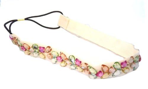 Multi Color Rhinestone Beaded Elastic Fashion Headband Hair Accessory, Cream
