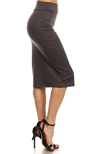 4623b777d090 Simlu Women's Below the Knee Pencil Skirt for Office Wear - Made in USA  ,Dark
