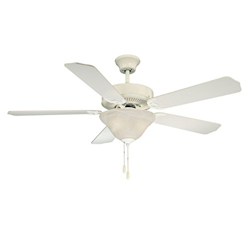Savoy House 52-ECM-5RV-WH First Value 52 Inch Ceiling Fan with White Marble Glass, White