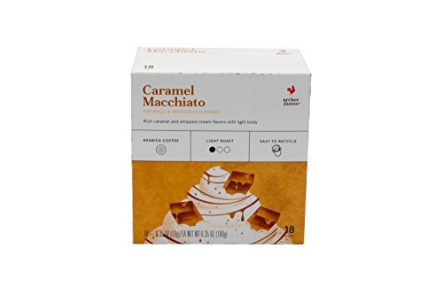 Archers Box - 18 Archer Farms Keurig Coffee Caramel Macchiato, Light Roast, Single Serve (One Box)