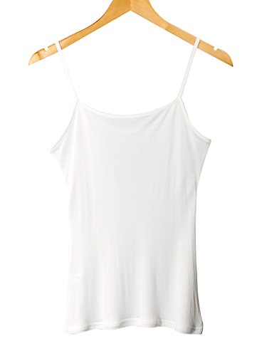 WSLIFE Women's 100% Pure Mulberry Silk Camisole Top Cami Chemise (M, (Ivory Silk Blouse)
