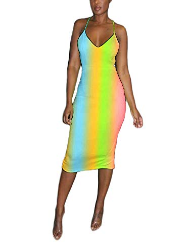 Sexy Spaghetti Strap Rainbow Stripe Print Flowy Cami Loose Long Maxi Dress Summer Beach Wear Multicolor M