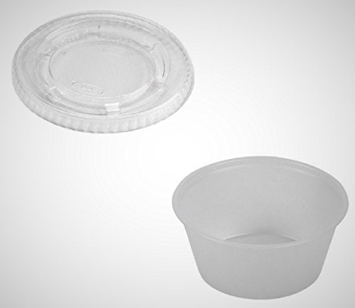 Solo Portion Cups - DART 400PC/PL4N 4 Oz. Plastic Disposable Souffle/Portion Cup with Lid (Pack of 125)