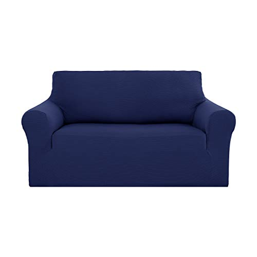 Deconovo Jacquard Strapless Smooth Sofa Slipcover Modern Solid Color Stretch Pet Sofa Cover for Loveseat Navy Blue