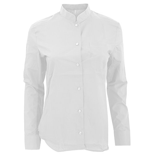 Kariban Womens/Ladies Long Sleeve Mandarin Collar Shirt (XL) (White)