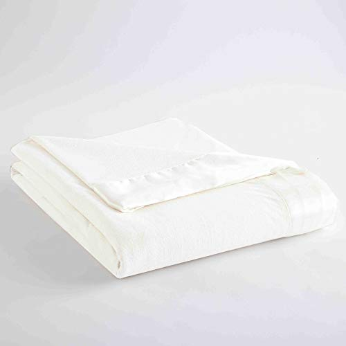 (Micro Flannel Shavel Durable Luxuriously Soft & Warm Satin Hemmed All Seasons Sheet Blanket Full/Queen, 90x90 - White)