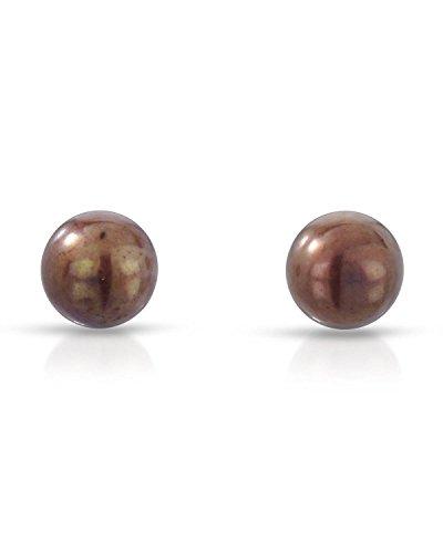 (Teno Stainless Steel Freshwater Cultured Pearl Stud Earrings For Women. )