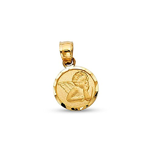Solid 14k Yellow Gold Angel Medallion Pendant Round Religious Charm Small Genuine 12 x 10 mm