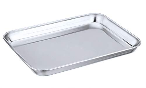 P&P CHEF Toaster Oven Tray, Stainless Steel Toaster Oven Pan, Rectangle 10.5''x8''x1'', Healthy & Heavy Duty, Mirror Finish & Dishwasher Safe