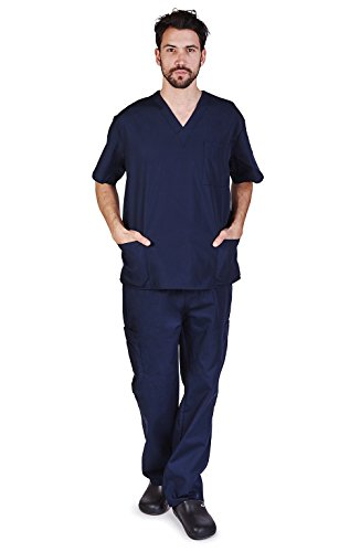 M&M SCRUBS Men's Scrub Set Medical Scrub Top and Pants L DARK Navy Blue