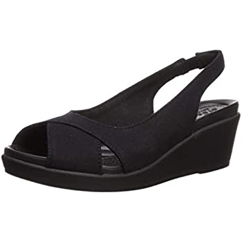 Black//Black US 4 Crocs Womens A-Leigh Mini Wedge Leather Shoes